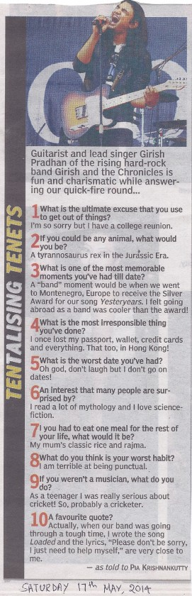 A column where a well-known local performer is asked some loco questions